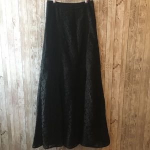 Tory Burch Long Black Lace Skirt